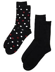 2-Pack Solid & Dot Socks