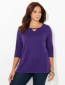 Braid Brilliance 3/4-Sleeve Pullover