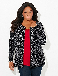 Dot-Scroll Gem Cardigan