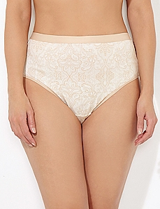 Almond Pindot Paisley Cotton Hi-Cut Brief