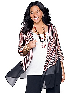 Sheer Peplum Cardigan