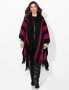 Raspberry Stripe Ruana