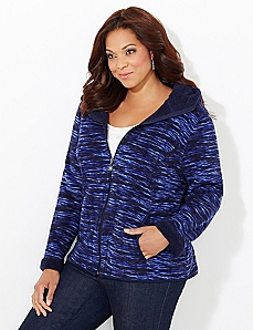 Blue Space-Dye Favorite Fleece Coat