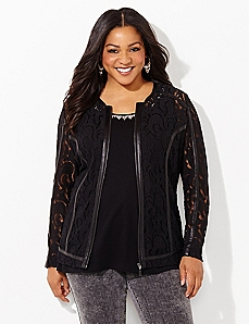 Signoria Faux Leather & Lace Jacket