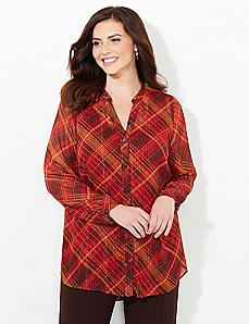 Windowpane Plaid Blouse