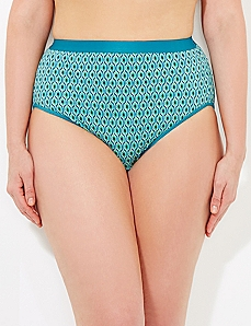 Dark Green Peacock Cotton Hi-Cut Brief