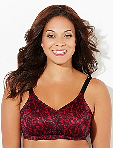 Lace Print No-Wire Back-Smoother Bra