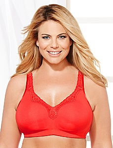 Red No-Wire Cotton Comfort Bra