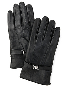 Buckle Leather Gloves