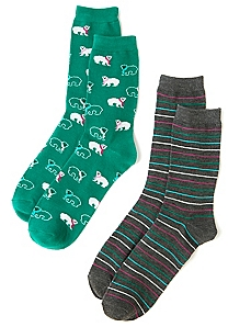 Polar Bear & Stripes 2-Pack Socks