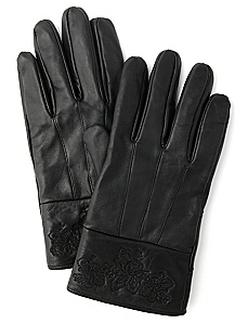 Floral Finish Leather Gloves
