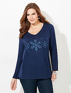 Long-Sleeve Snowflake Tee