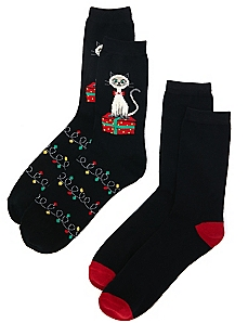 Christmas Cat 2-Pack Socks