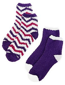 Plush Chevron & Solid 2-Pack Socks