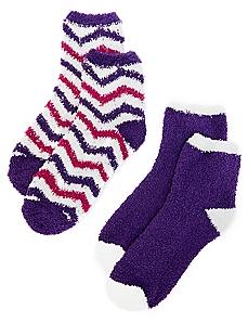 Plush Chevron & Solid 2-Pack Socks