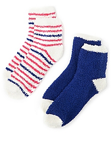Cozy Micro Stripe & Colorblock 2-Pack Socks