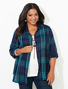 Button Plaid Top