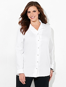 Rhinestone Button Non-Iron Shirt