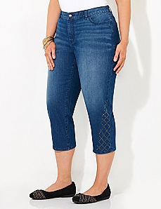 Argyle Shine Denim Capri