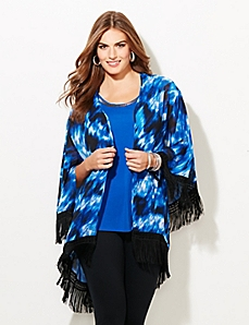 Black Label Shadow Wave Fringe Kimono