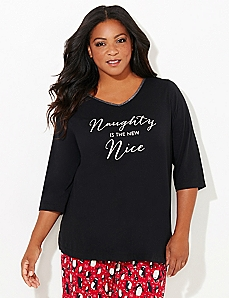3/4-Sleeve Holiday Glitz Sleep Tee