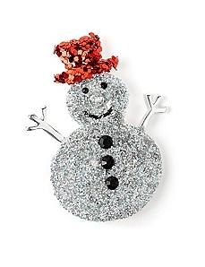 Glitter Snowman Pin