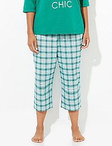 Checkered Flannel Cozy Chic Sleep Capri