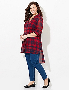Sheer Plaid Tunic