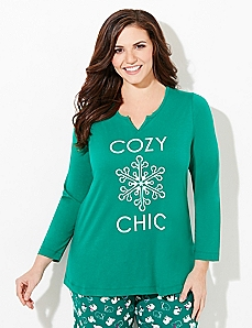 Long-Sleeve Cozy Chic Sleep Tee