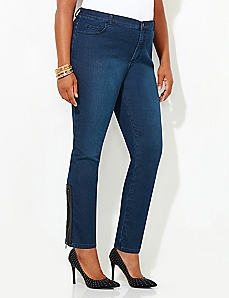 Fashion Zip-Front Knit Jean