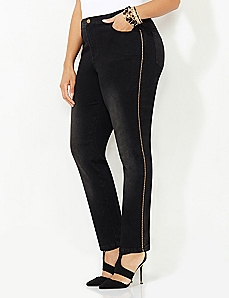 Black Label Metallic Braid Jeans