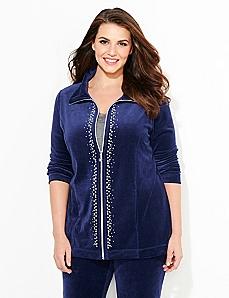 Rhinestone Glamour Velour Jacket