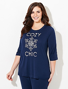 3/4-Sleeve Cozy Chic Waffle-Knit Sleep Tee