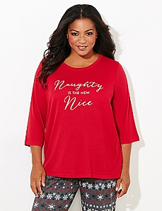3/4-Sleeve Naughty & Nice Sleep Tee