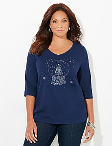V-Neck 3/4-Sleeve Globe Holiday Tee