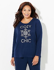 Long-Sleeve Cozy Chic Waffle-Knit Sleep Tee
