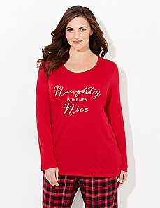 Long-Sleeve Naughty & Nice Sleep Tee