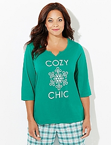 3/4-Sleeve Cozy Chic Sleep Tee