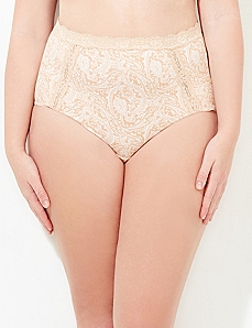 Almond Scroll Paisley Lace Trim Cotton Full Brief
