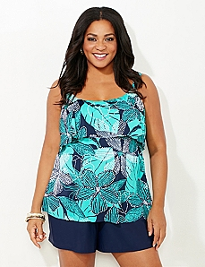 Dew-Drop Floral Swim Top