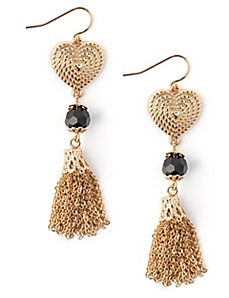 Heart To Heart Tassel Earrings
