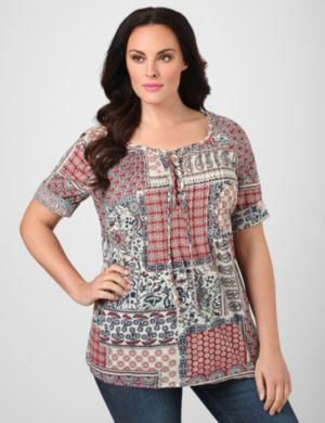 Vintage Patchwork Peasant Top