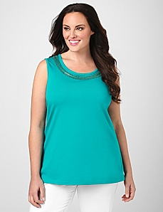 Embellished Scoopneck Tank by Catherines®