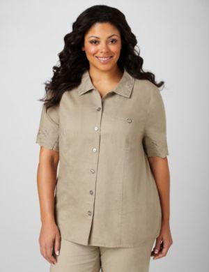 Button-Front Linen Shirt