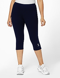 Navy Side Vent Logo Capri Pants by A BIG ATTITUDE