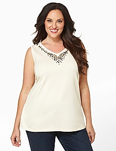 Jeweled V-Neck Tank by Catherines