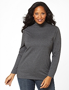 Suprema Mock Turtleneck Top by Catherines