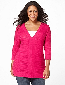 Ribbed V-Neck Sweater by Catherines
