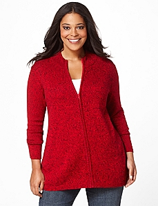 Mockneck Zip Cardigan by Catherines