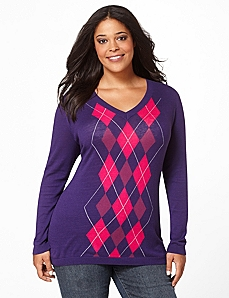 Argyle V-Neck by CATHERINES